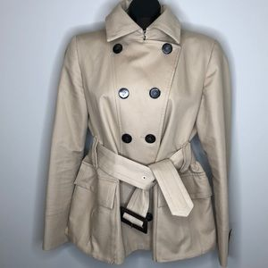 ZARA WOMAN khaki belted double breasted trench XL